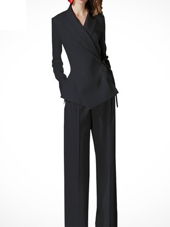 Black Pockets Lapel Work Coat with Pants Two-Piece Set