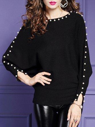 Black Long Sleeve Elegant Beaded Sweater