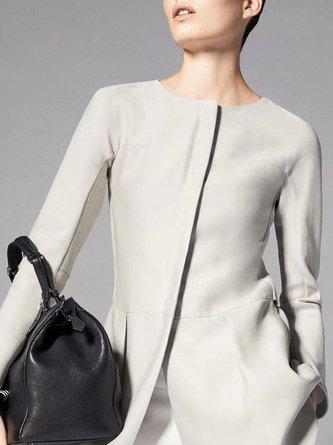 Light Gray Elegant Sheath Work Coat
