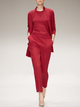 Red Solid Elegant Coat With Pants Three-piece Set