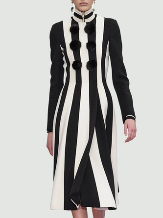 Turtleneck Color-block Date Solid Elegant Midi Dress