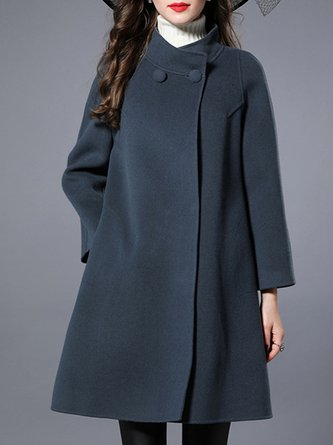 Blue Gray Buttoned Pockets Casual Coat