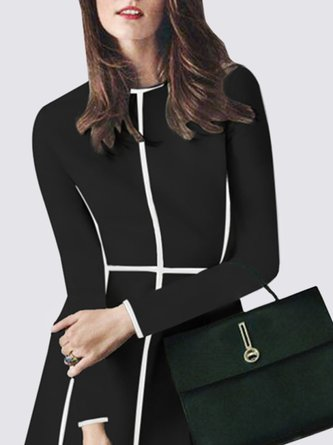 Abstract Long Sleeve Color-Block Casual Midi Dress