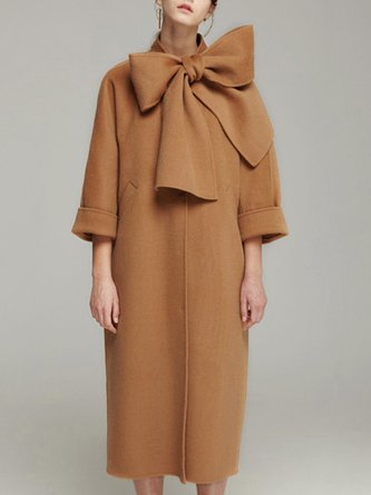 Camel Tie-Neck 3/4 Sleeve Bow Pockets Coat