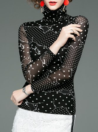 Polka Dots Turtleneck See-Through Look Elegant Top