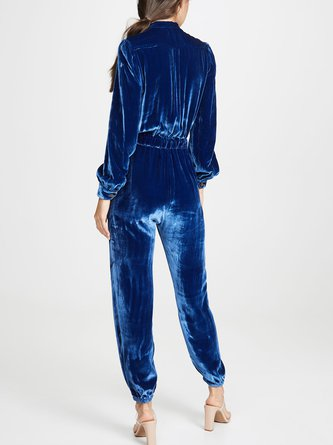 Velvet Daily Blue Solid Casual Jumpsuit