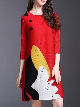 Abstract Printed Shift Casual Midi Dress