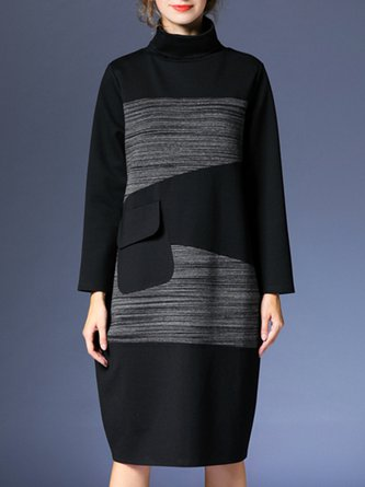 Turtleneck Black Daily Solid Casual Midi Dress