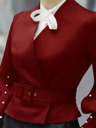 Red Beaded Solid Elegant Cropped Jacket