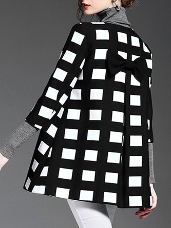 Checkered Color-Block Buttoned Date Elegant Coat