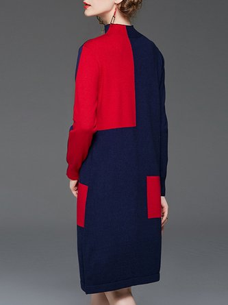 Stand Collar Color-block Daily Casual Sweater Dress