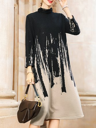 Cowl Neck Shift Daily Abstract Casual Dress