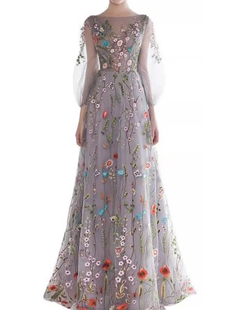 Elegant Prom Light Gray Ball Gown Elegant Maxi Dress