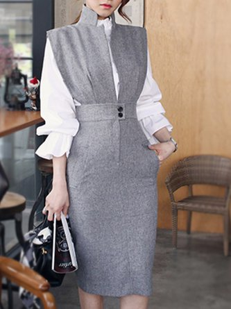 Stand Collar Gray Bodycon Work Elegant Midi Dress