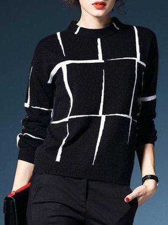 Checkered Sheath Casual Sweater
