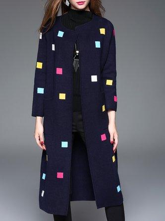 Navyblue Long Sleeve Shift Elegant Coat