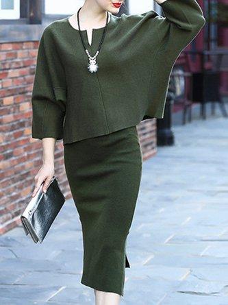 Green Elegant Sheath Top With Skirt Set