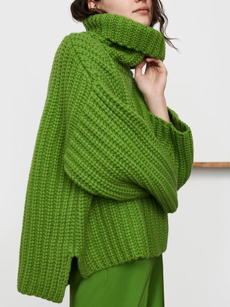 Green Turtleneck Knitted Casual Sweater