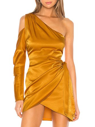 Golden Going Out Elegant Knot Front Mini Dress