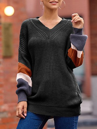 Knitted Balloon Sleeve Striped Casual Sweater