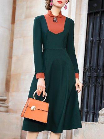 Stand Collar A-Line Zipper Daily Elegant Midi Dress