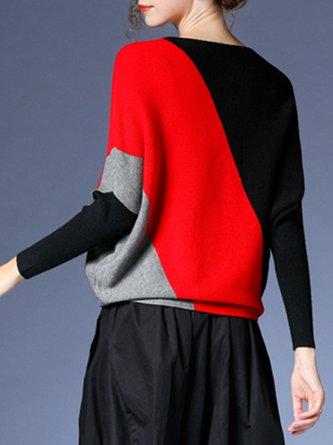 Batwing Bateau/boat Neck Color-Block Casual Sweater