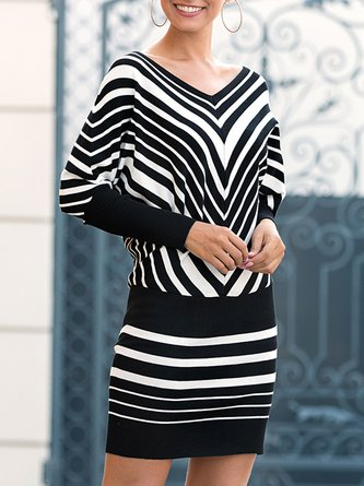 Batwing Stripes Color-block Casual Sweater Dress