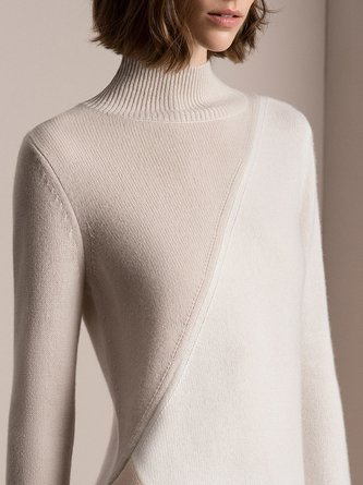 Casual Solid Turtleneck Sweater