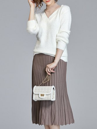 Knitted Pleated Elegant Two-piece Set