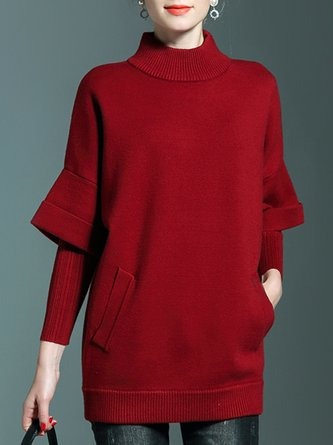 Red Casual Long Sleeve Turtleneck Sweater