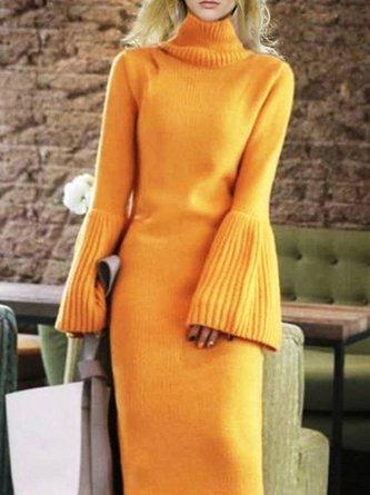 Knitted Bell Sleeve Sheath Elegant Sweater Dress
