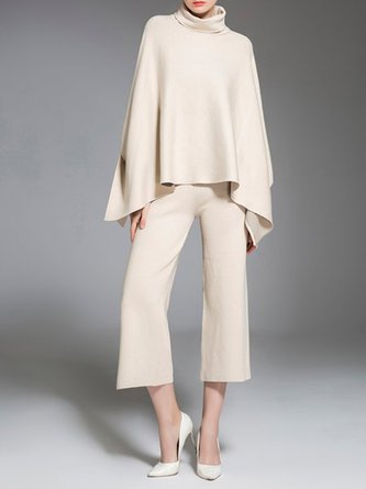 Beige Shift Casual Turtleneck Top With Pants Set