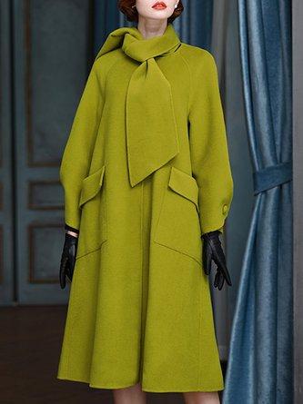Tie-neck Pockets Solid Elegant Coat