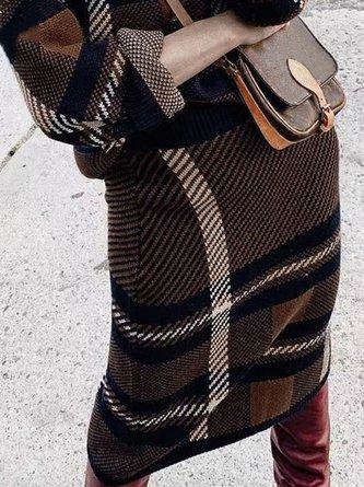 Stripes Turtleneck Elegant Top with Dress Two-piece Set