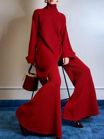 Asymmetric Shift Solid Elegant Top with Pants Set