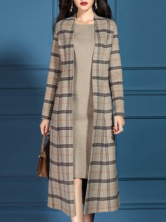 Pockets Checkered Shift Elegant Dress with Coat
