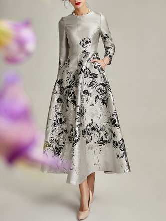 Printed Floral Swing Elegant Maxi Dress