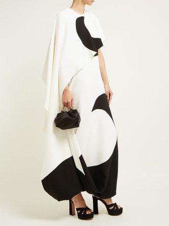 Asymmetric Color-block Elegant Maxi Dress