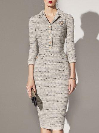 Slit Sheath Date Elegant Midi Dress