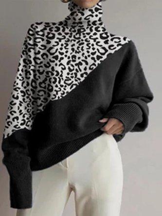 Turtleneck Leopard Print Casual Top
