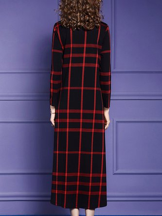 Pockets Checkered Elegant Midi Dress