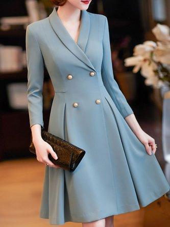 Ruched A-line Elegant Midi Dress