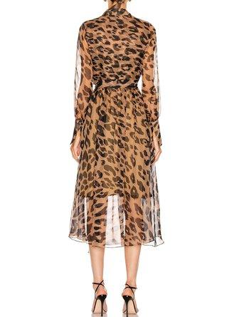 Printed Leopard Print Elegant Midi Dress