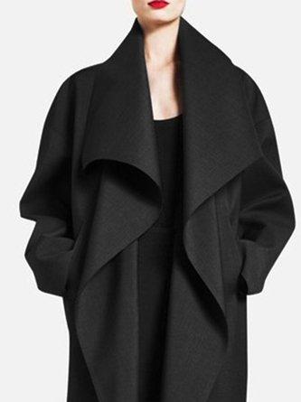 Shawl Collar Solid Pockets Elegant Coat