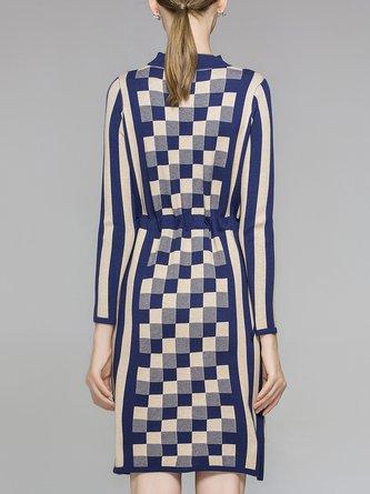 Knitted Geometric Drawstring Casual Sweater Dress
