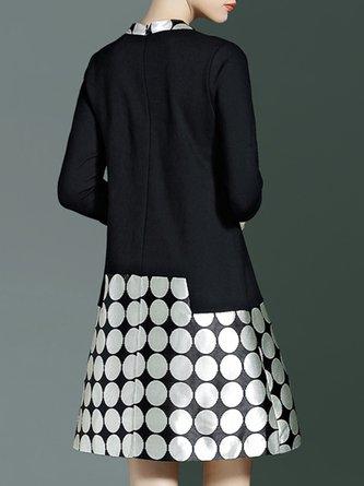 Printed Polka Dots Elegant Midi Dress