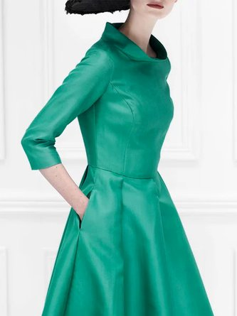 Stand Collar A-Line Daily Solid Elegant Midi Dress