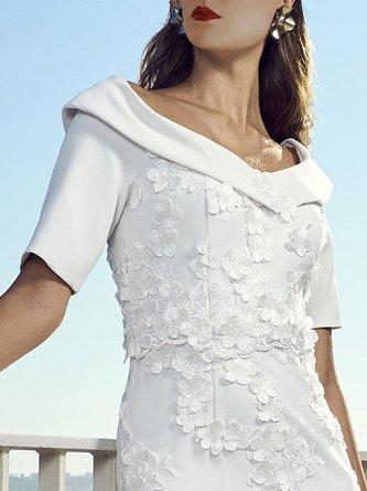 Appliqued Sheath Elegant Midi Dress
