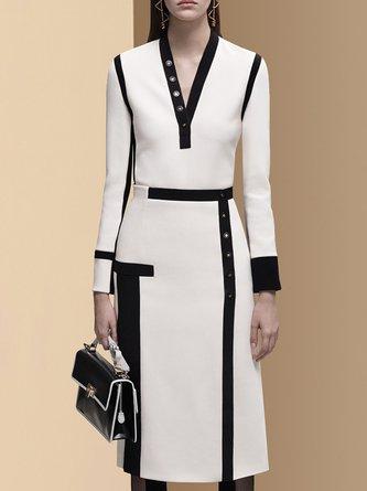 A-line Paneled Elegant Midi Dress