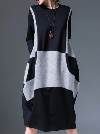 Black-Gray Shift Daytime Casual Midi Dress